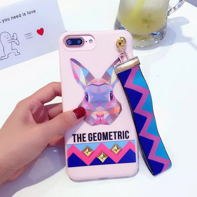 Yoedge Fashion Soft Cartoon Tiger Rabbit Studded Rivet Cover Case For Iphone 8 7 Plus 6 6s Plus Wrist Strap Phone Case Capa