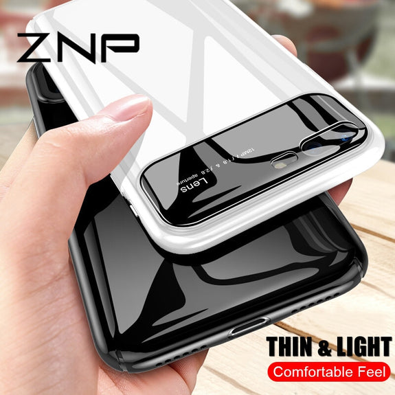 d366081d860 ZNP Luxury Tempered Glass Case For IPhone 7 6 6s 8 Plus X Slim PC+Glas