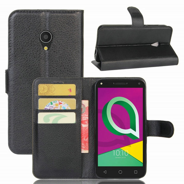 For Alcatel U5 4G 5044D Wallet Phone Case For Alcatel U5 3G 4047X Flip Leather Cover Case With Stand Etui Fundas>