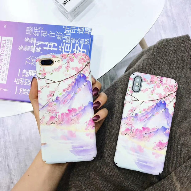 IPWSOO Beautiful For IPhone 6 6s 7 8 Plus X Phone Case Marble Cherry Blossom Pattern Smooth Hard PC Phone Case For IPhone 7 Case