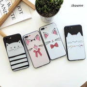 Iboann 3D Relief Lovely Cartoon Animal Pet Cute Cat Lovers Soft Tpu Gel Case For Iphone 6 6s 6plus 7 8 Plus X Phone Cases Cover