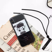 Iboann Cute Cartoon Boy And Girl Lovers Inset Card TPU Soft Gel Silicone Clear Case For Iphone 6 6s 6 S 6plus 7 8 Plus X Cases