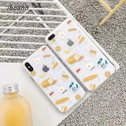 Iboann Cute Cartoon Breakfast Food Bread Milk Hot Dog TPU Soft Gel Silicone Clear Case For Iphone 6 6s 6 S 7 8 Plus Cases Cover