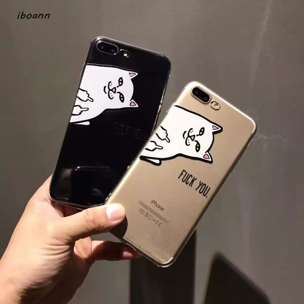 Iboann Cute Cartoon Kuso Middle Finger Cat Transparent TPU Soft Gel Silicone Clear Case For Iphone 6 6s 6 S 7 8 Plus X Cases