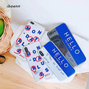Iboann Cute Cartoon Words Hello TPU Soft Gel Silicone Clear Case For Iphone 6 6s 6 S 7 8 Plus Cases Cover
