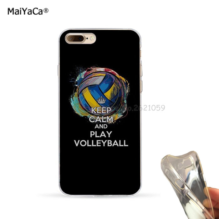 low priced eb881 006bb Keep Calm And Play Volleyball Soft TPU Mobile Phone Case For Iphone 5s Se  6s 6plus 6splus 7 7plus 8 8plus X XR XS MAX Cover Case