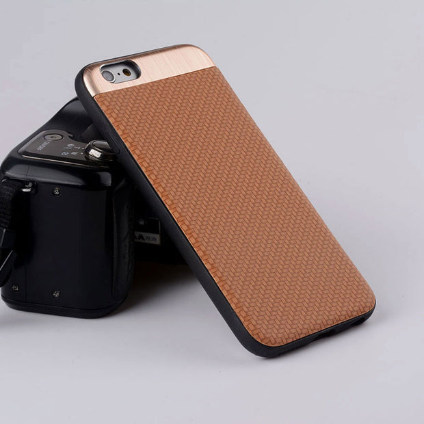 Luxury Business Style Copue For Iphone 6 Case Weave Texture Pu Leather Magnet Matel Back Cover Case For Iphone 7 6 6s Plus Capa