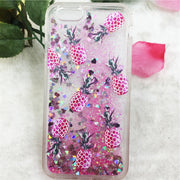Pineapple Cactus Pattern Liquid Case For Iphone 6 6S 7 8 Plus Glitter Stars Dynamic Liquid Quicksand Case For Iphone X Cover