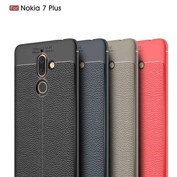 buy popular 02a44 b1ad9 SFor Nokia 7 Plus Case Silicone Luxury Litchi Texture Soft TPU PU Leather  Back Cover Case For Nokia 7 Plus Phone Cases