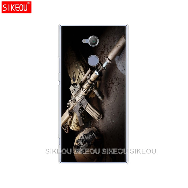 Silicone Cover Phone Case For Sony Xperia XA1 XA2 ULTRA PLUS L1 L2 XZ1 XZ2 Compact XZ PREMIUM Weapons Rifle Guns Pistol Bullet