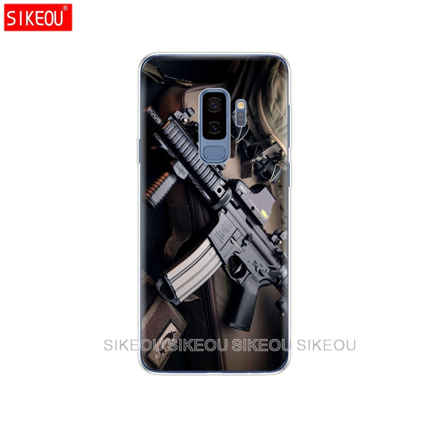 Silicone Case For Samsung Galaxy S9 S8 S7 S6 Edge S5 S4 S3 PLUS Phone Cover Weapons Rifle Guns Sniper Pistol Bullet
