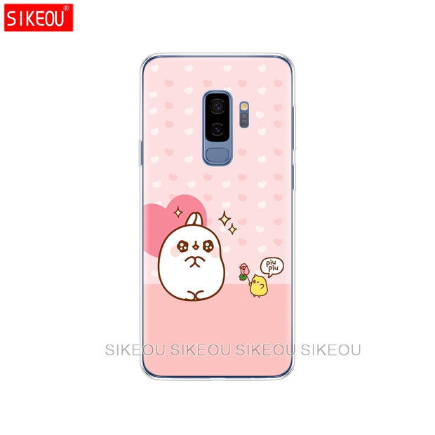 Silicone Case For Samsung Galaxy S9 S8 S7 S6 Edge S5 S4 S3 PLUS Phone Cover Molang Rabbits Cutest Kawaii Box Potatoes
