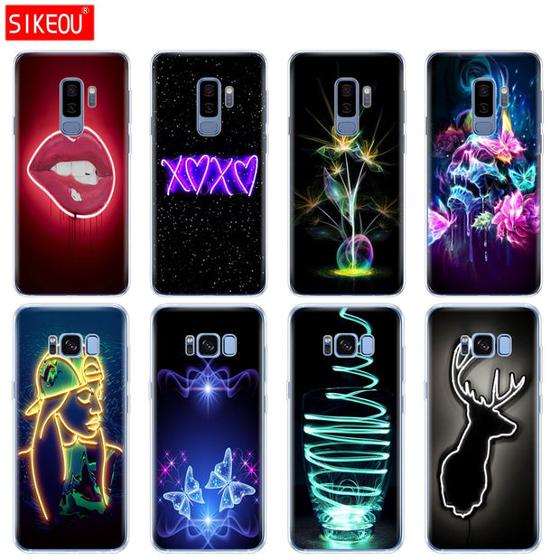Silicone Case For Samsung Galaxy S9 S8 S7 S6 Edge S5 S4 S3 PLUS Phone Cover Neon Pattern Print