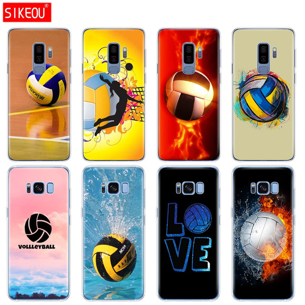 Silicone Case For Samsung Galaxy S9 S8 S7 S6 Edge S5 S4 S3 PLUS Phone Cover Fire Volleyball Sport Water
