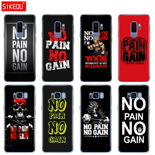 Silicone Case For Samsung Galaxy S9 S8 S7 S6 Edge S5 S4 S3 PLUS Phone Cover No Pain No Gain Gym And Fitness Quote