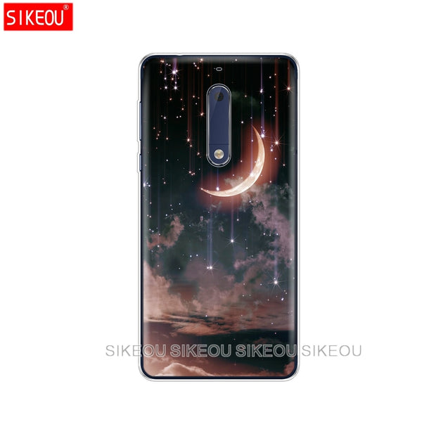 Silicone Cover Phone Case For Nokia 5 3 6 7 PLUS 8 9 /Nokia 6.1 5.1 3.1 2.1 6 2018 Space Love Sun And Moon Star Drawing