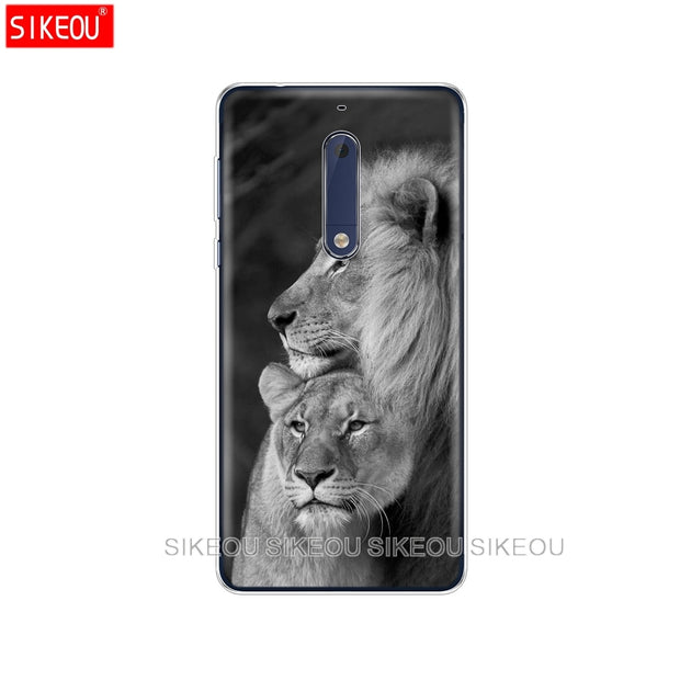 Silicone Cover Phone Case For Nokia 5 3 6 7 PLUS 8 9 /Nokia 6.1 5.1 3.1 2.1 6 2018 Lion Tiger Fashion Lovely Animal