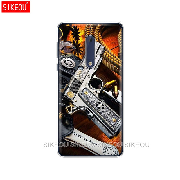 Silicone Cover Phone Case For Nokia 5 3 6 7 PLUS 8 9 /Nokia 6.1 5.1 3.1 2.1 6 2018 Weapons Rifle Guns Sniper Pistol Bullet