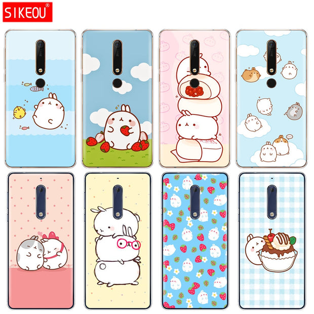 Silicone Cover Phone Case For Nokia 5 3 6 7 PLUS 8 9 /Nokia 6.1 5.1 3.1 2.1 6 2018 Molang Rabbits Cutest Kawaii Box Potatoes