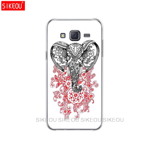 Silicone Cover Phone Case For Samsung Galaxy J1 J2 J3 J5 J7 MINI 2016 2015 Prime Totem Elephant Aztec Indian Flower
