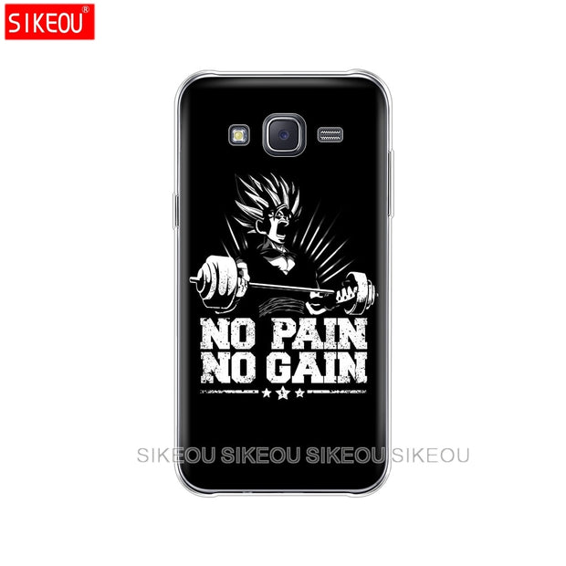 Silicone Cover Phone Case For Samsung Galaxy J1 J2 J3 J5 J7 MINI 2016 2015 Prime No Pain No Gain Gym And Fitness Quote