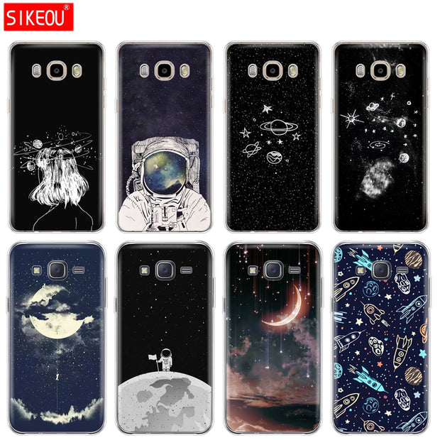 Silicone Cover Phone Case For Samsung Galaxy J1 J2 J3 J5 J7 MINI 2016 2015 Prime Space Love Sun And Moon Star Drawing