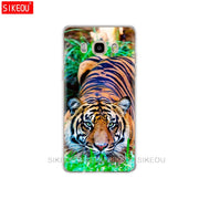 Silicone Cover Phone Case For Samsung Galaxy J1 J2 J3 J5 J7 MINI 2016 2015 Prime Lion Tiger Fashion Lovely Animal