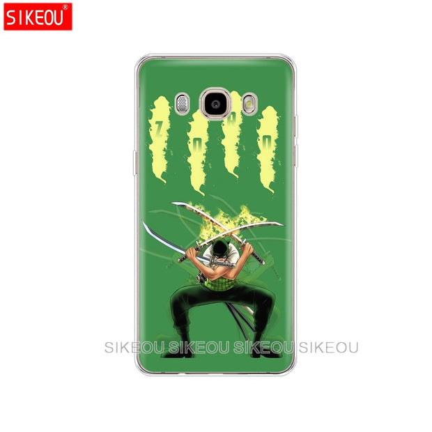 Silicone Cover Phone Case For Samsung Galaxy J1 J2 J3 J5 J7 MINI 2016 2015 Prime One Piece Roronoa Zoro Anime