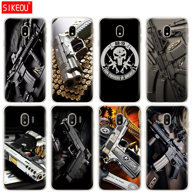 Silicone Cover Phone Case For Samsung Galaxy J3 J5 J7 2017 J330 J530 J730 PRO J2 2018 Weapons Rifle Guns Sniper Pistol Bullet