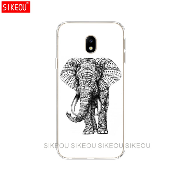 Silicone Cover Phone Case For Samsung Galaxy J3 J5 J7 2017 J330 J530 J730 PRO J2 2018 Totem Elephant Aztec Indian Flower