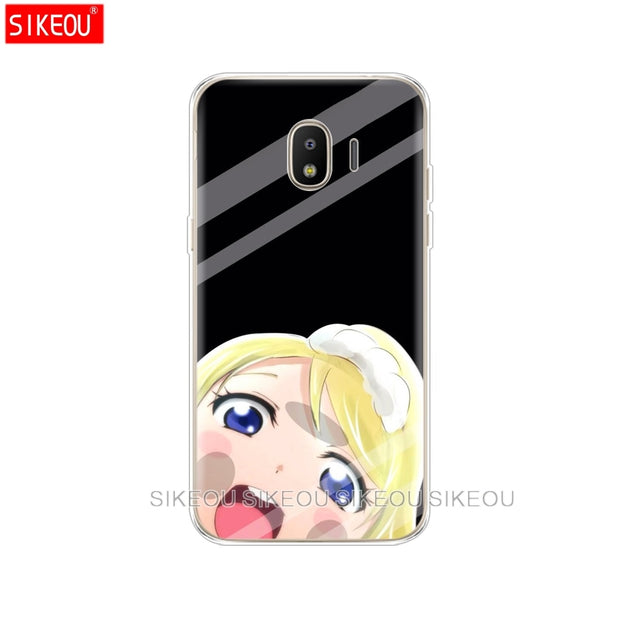 Silicone Cover Phone Case For Samsung Galaxy J3 J5 J7 2017 J330 J530 J730 PRO J2 2018 Japanese Anime Girl Touch Glass Kawaii