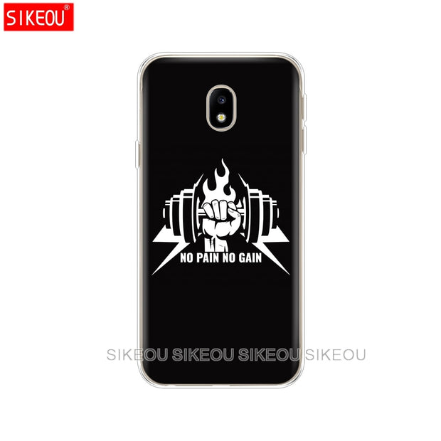 Silicone Cover Phone Case For Samsung Galaxy J3 J5 J7 2017 J330 J530 J730 PRO J2 2018 No Pain No Gain Gym And Fitness Quote