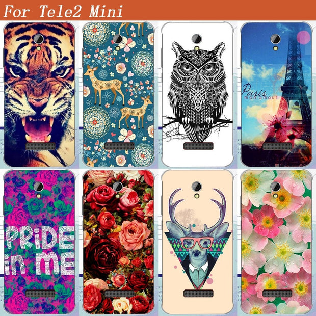 Tele2 Mini Case Cover Cool Pattern Tiger Owl Rose Eiffel Towers Design Soft Tpu Case For Tele2 Mini 4.0 Inch Cover Phone Bags