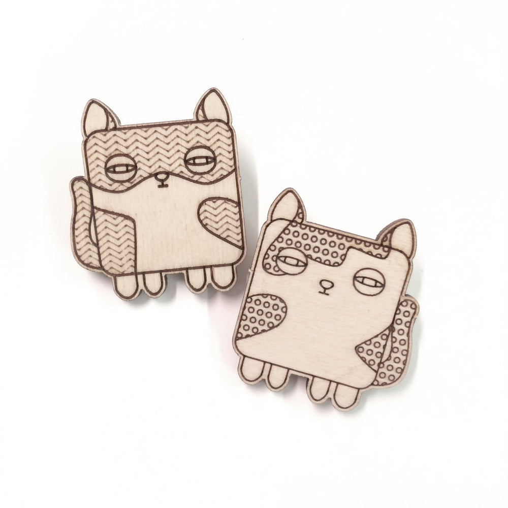 Broche Chat en bois