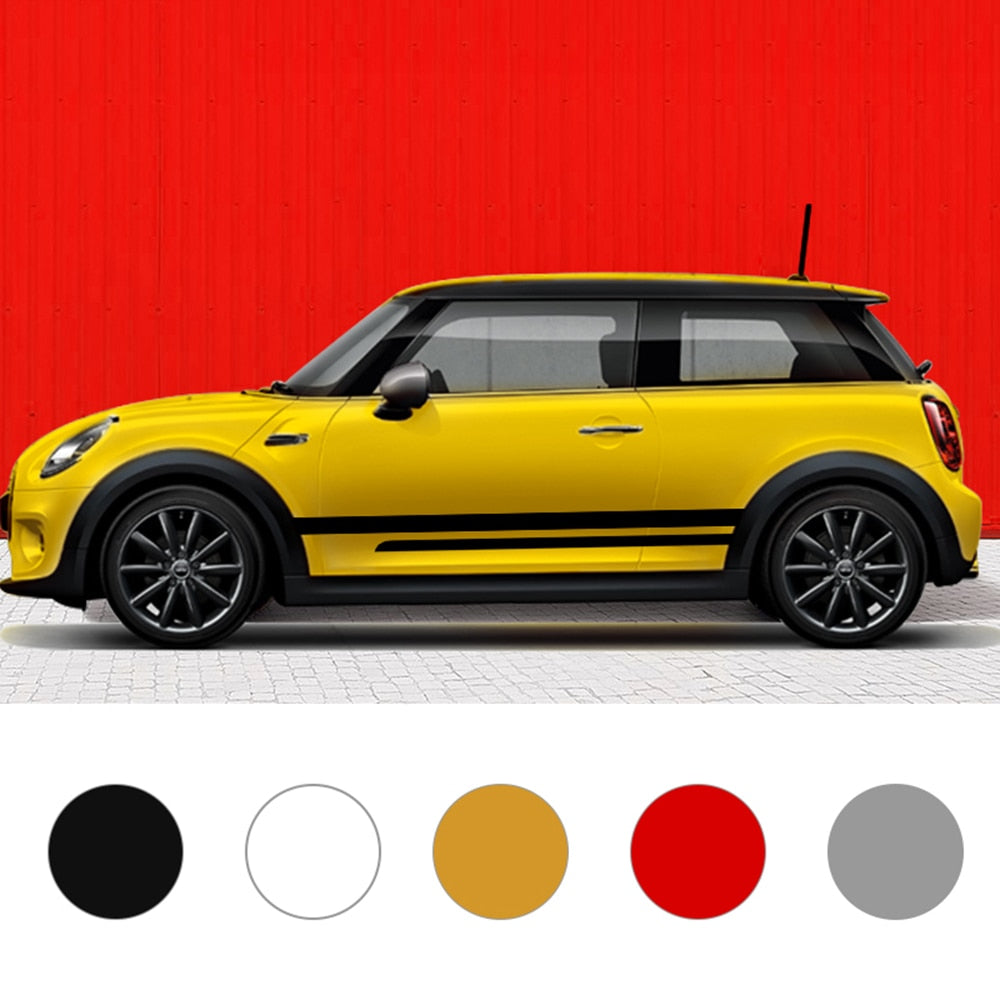 1Pair Car Side Skirt Door Body Waist Decal Line Sticker For MINI Cooper S One JCW Clubman F54 F55 F56 F60 Countryman Accessories