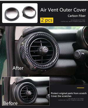 Carbon Fiber Air Vent Ring Outlet Outer + Inner Cover Mini Cooper F55 F56 F57 Accessories