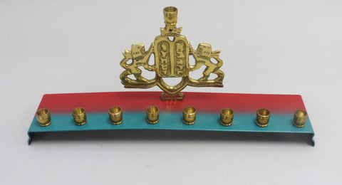 Colorful Strip Brass Menorah ALM-7025