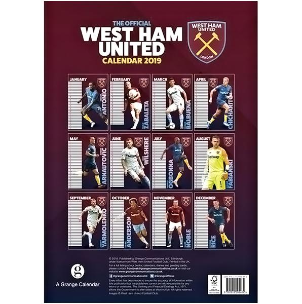 West Ham United F.C. Calendar 2019 - AOT Sports