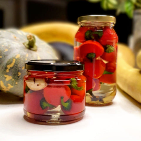 Balcony grown pickled Capsicums