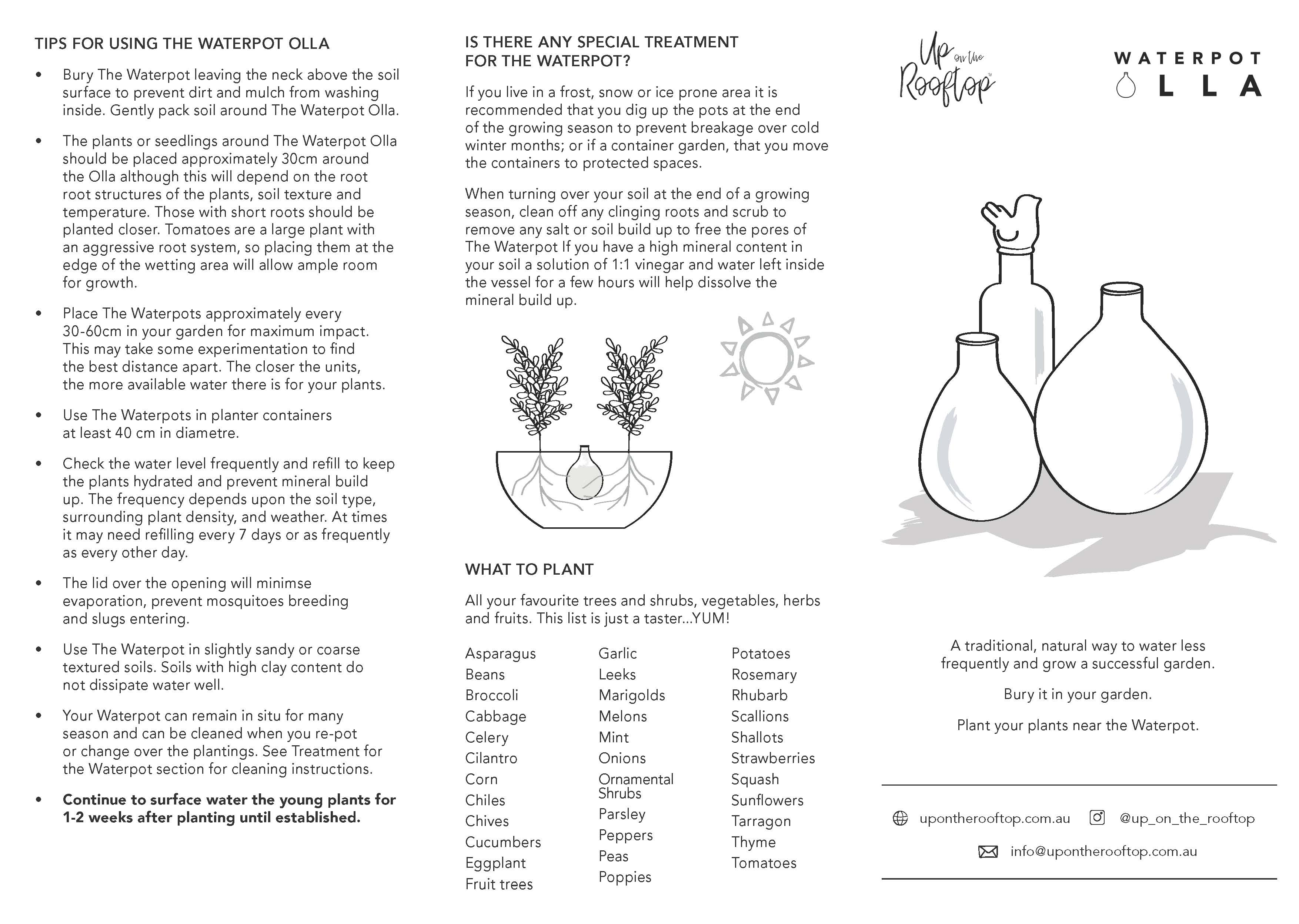 Waterpot Olla Instructions Page 1