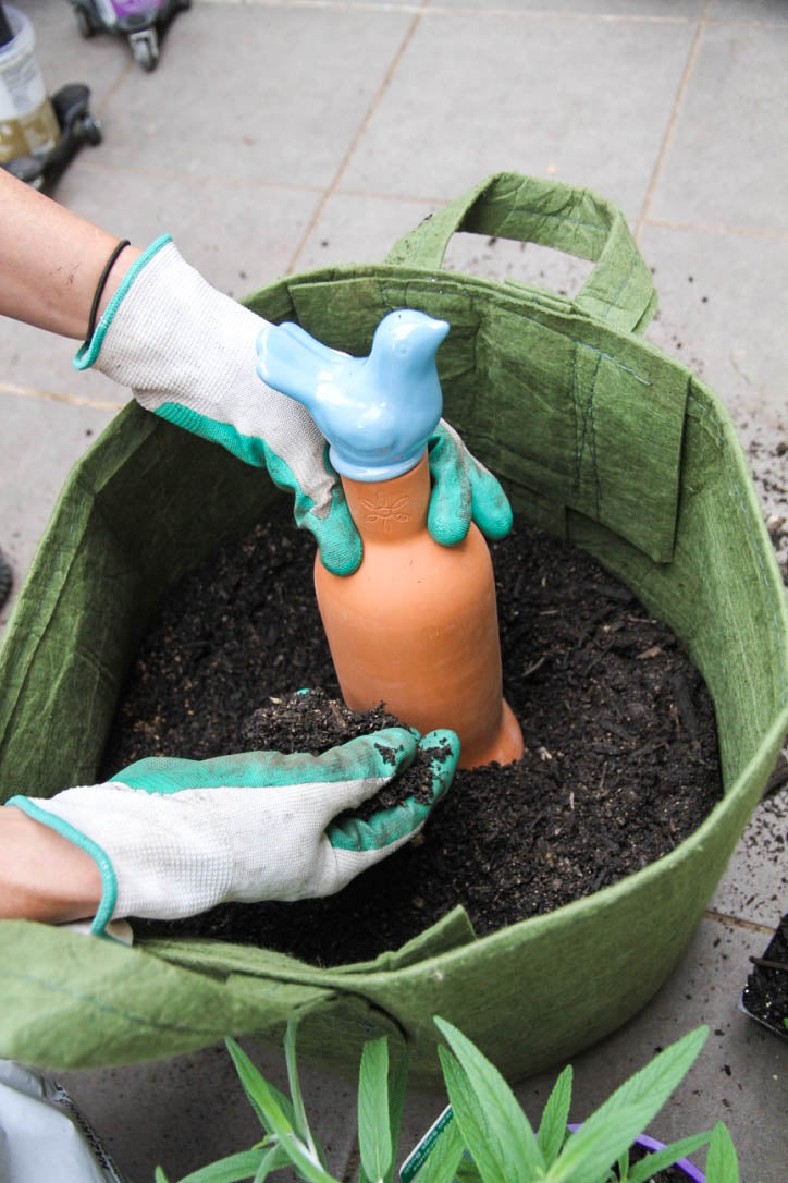 Burying a Waterpot olla in a Rootpouch or plant container