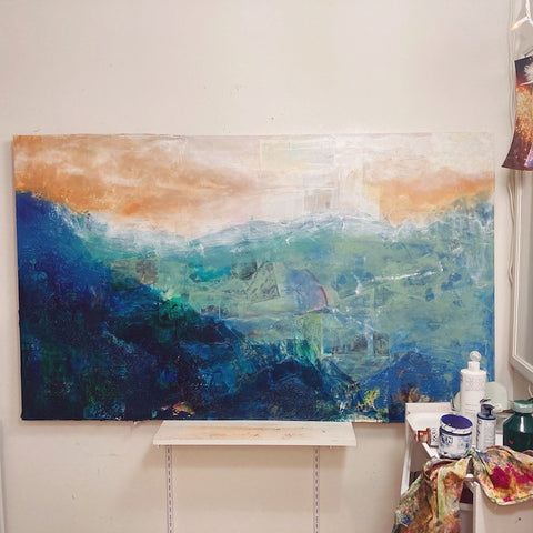 acrylic paint, artwork in process, abstract landscape, intuitive painting