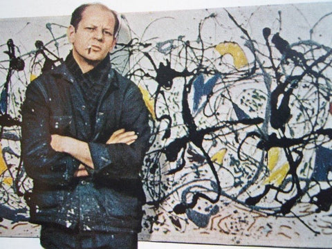 Jackson Pollock in front of Summertime_ Number 9A for LIFE magazine_1949