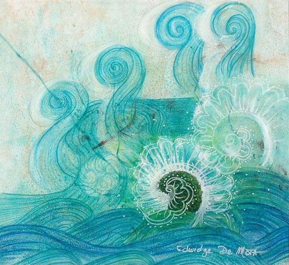 waves, dragon, water, aqua, whimsical, illustration