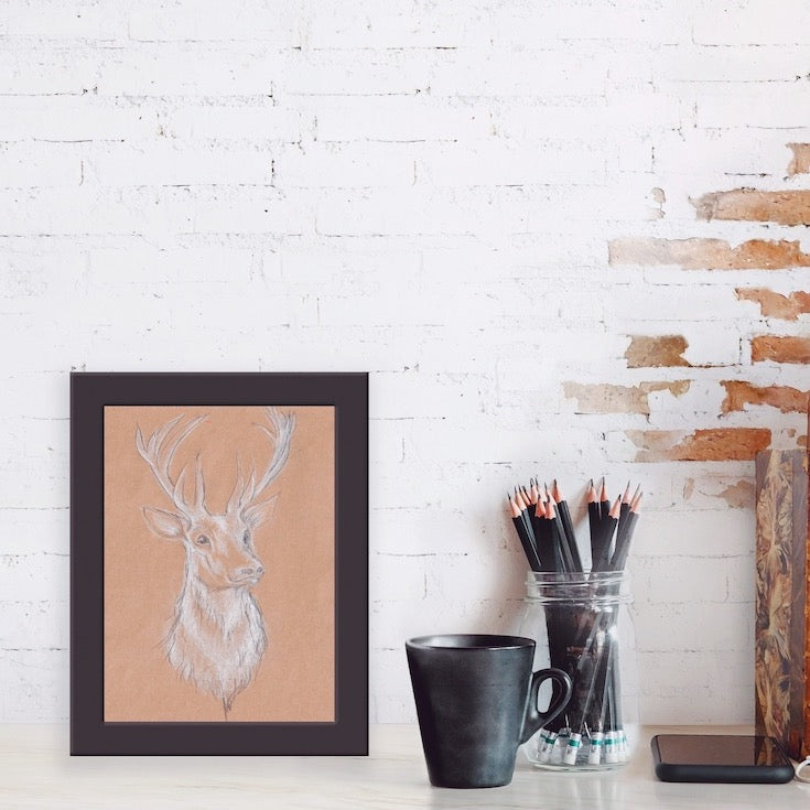 Cerf, Deer Illustration, Beautiful Deer Illustration hand made, White deer, Edemota, Edwidge De Mota, Brown decor, Nature decor, wood decor, forest decor