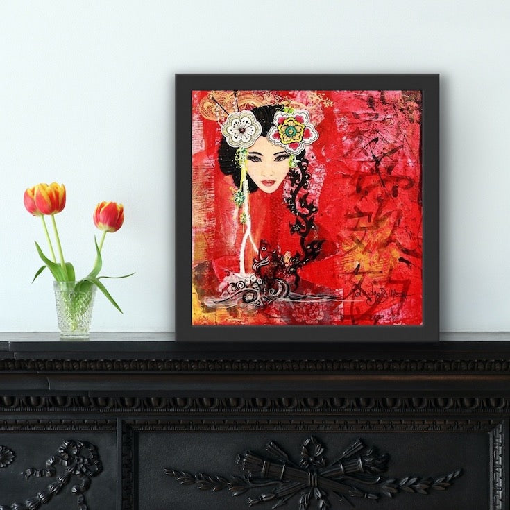 Asian style, style asiatique, asian woman, femme asiatique, rouge, red, calligraphie asiatique, cool artwork, mixed media artwork, Edemota, Edwidge De Mota,
