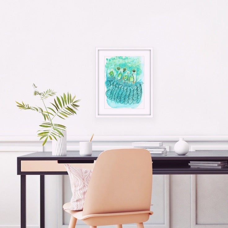 Abstract watercolor, motif watercolor, turquoise, aqua, green, Edemota, Edwidge De Mota, Home decor, Bohemian decor, boho decor, boho watercolor