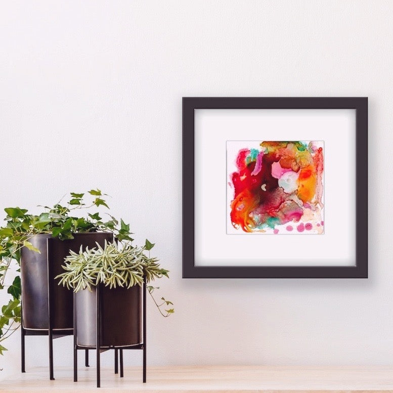Abstract artwork, Ink, Alcohol ink artwork, Ink artwork, Vibrant color abstract, Red, Orange, Pink, Boho decor, little artwork, Edemota, Edwidge De Mota