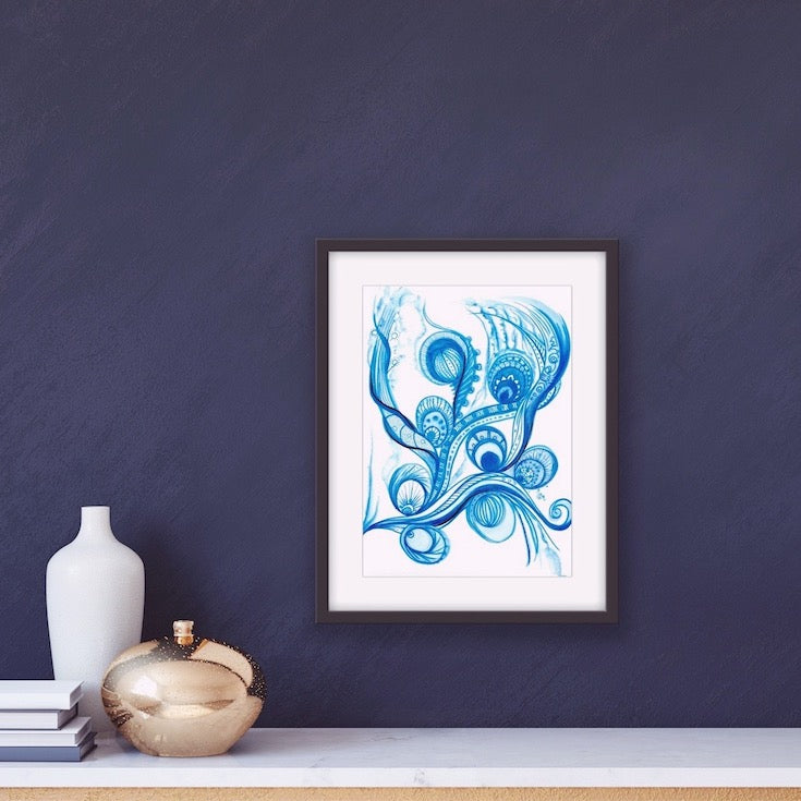 Bohemian blue abstract watercolor, Watercolor, Indian style, Ethnic style, Aquatic, tatoo, home decor, Edemota, Edwidge De Mota, Blue decor, blue home decor, chic decor, hand made artwork, original artwork