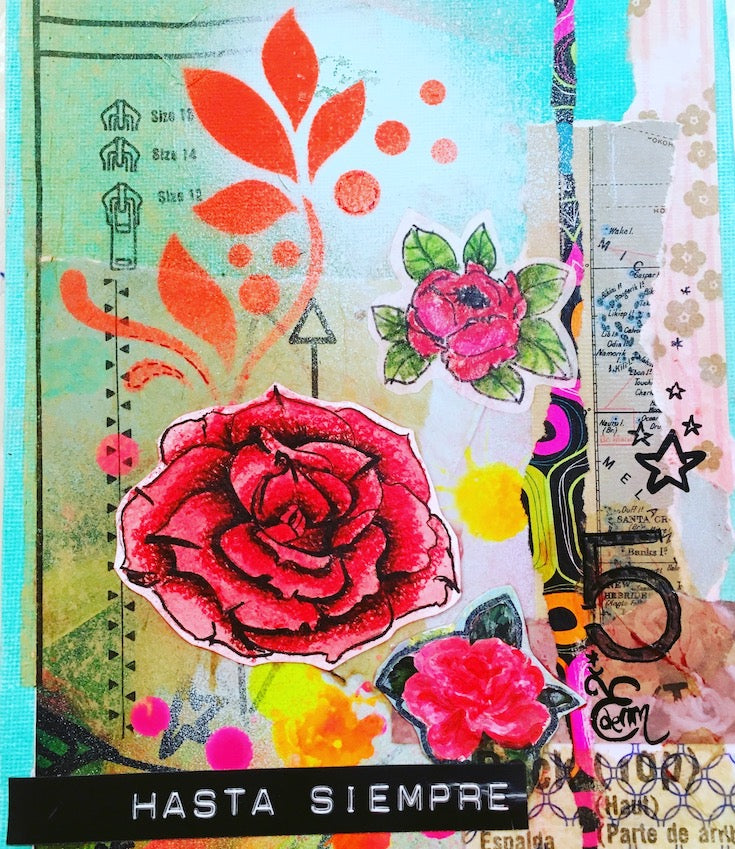 Collage artwork, Rose, turquoise, small cool artwork, artwork for teenager, art journal artwork